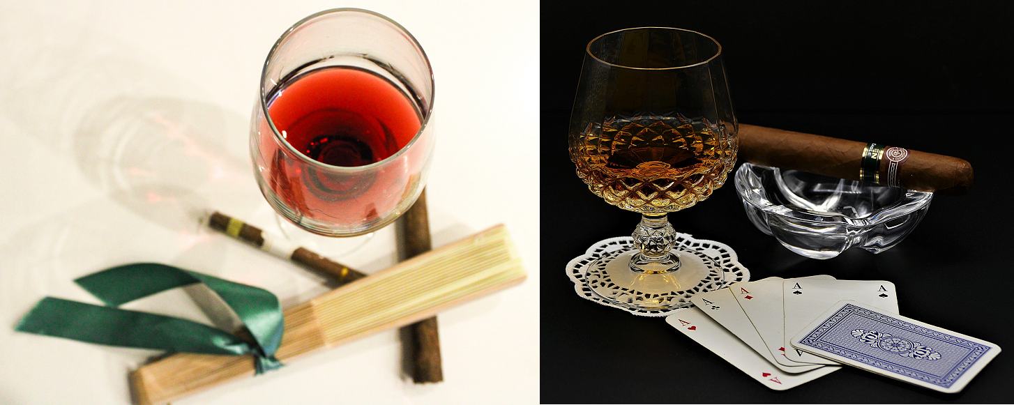 Cigars - red wine glass and cigar / cigar brandy and cigar
