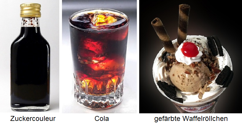 Sugar color - sugar color in bottles, cola in a glass and colored wafer rolls with ice cream