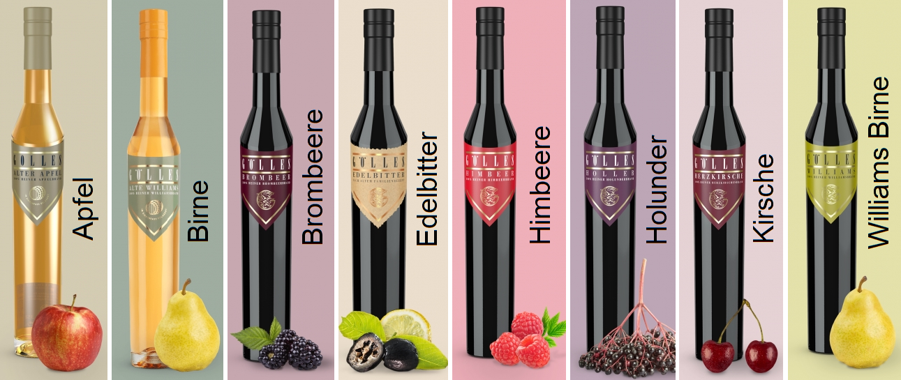 Brand - 8 different Gölles fruit / berry brandies