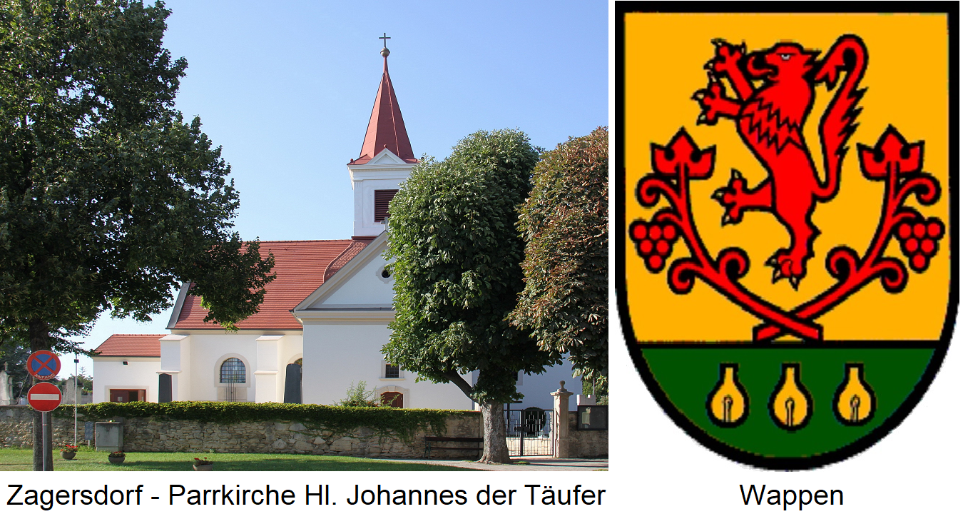 Zagersdorf - parish church of St. John the Baptist and coat of arms
