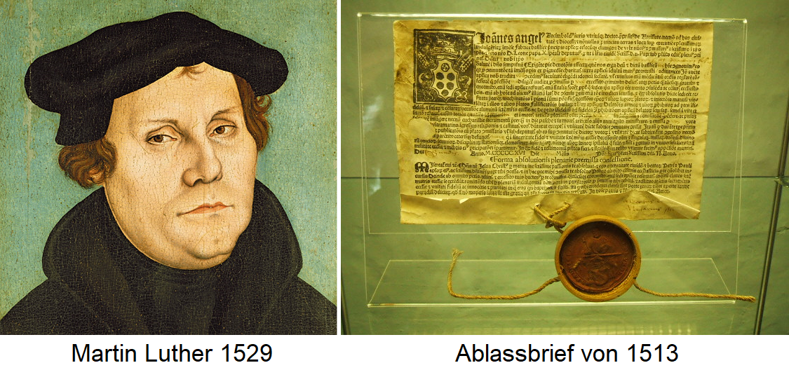 Martin Luther 1529 and letter of indulgence from 1513