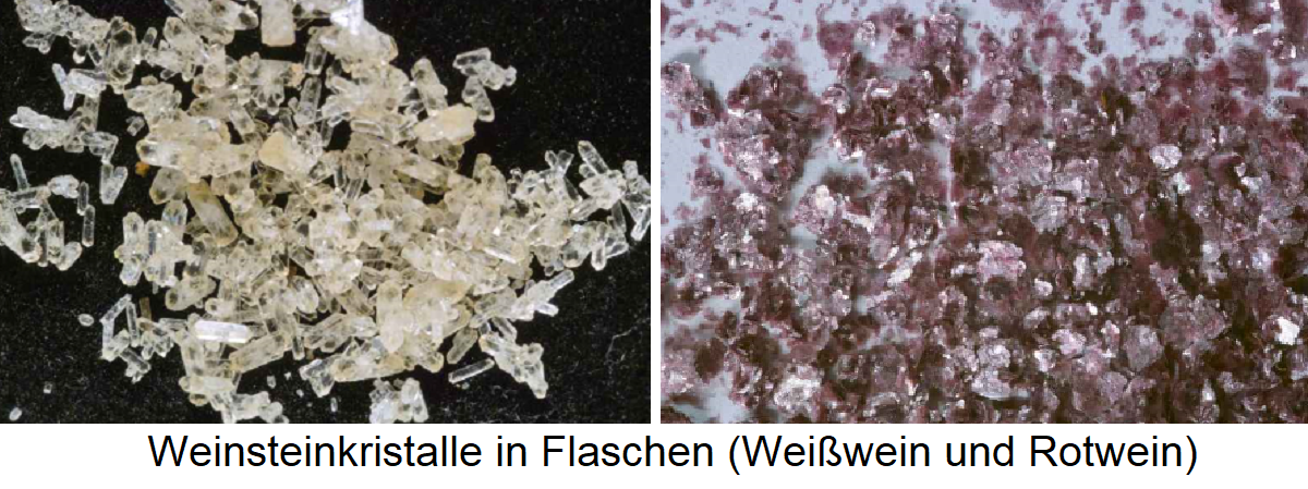 Weinstein - tartar crystals in bottles