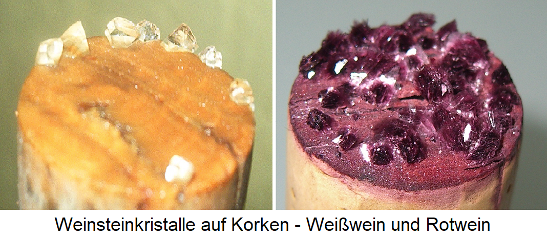 Tartar crystals on corks - white wine and red wine