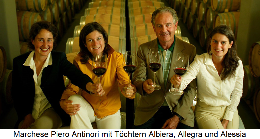 Antinori - Marchese Piero Antinori with daughters Albiere, Allegra and Alessia
