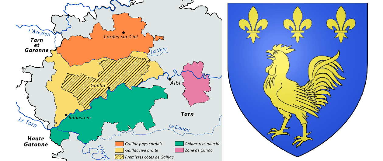 Gaillac - map and coat of arms