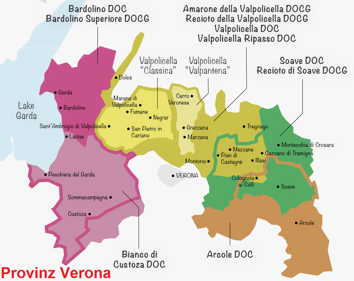 Map of the province of Verona with DOCG / DOC areas