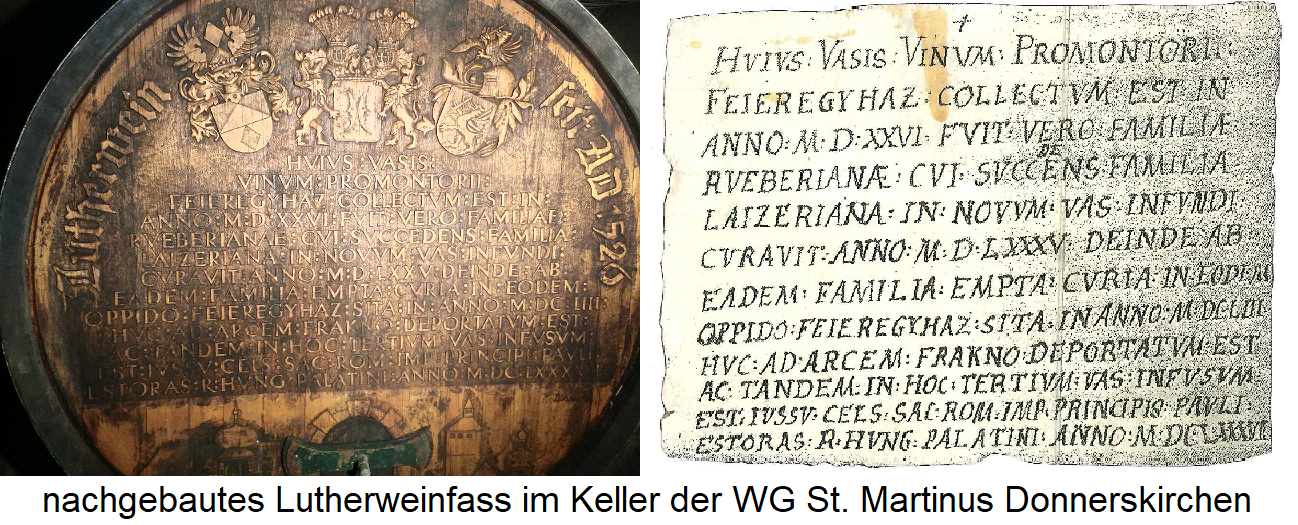 Luther wine - replica barrel of the WG St. Martinus and original text