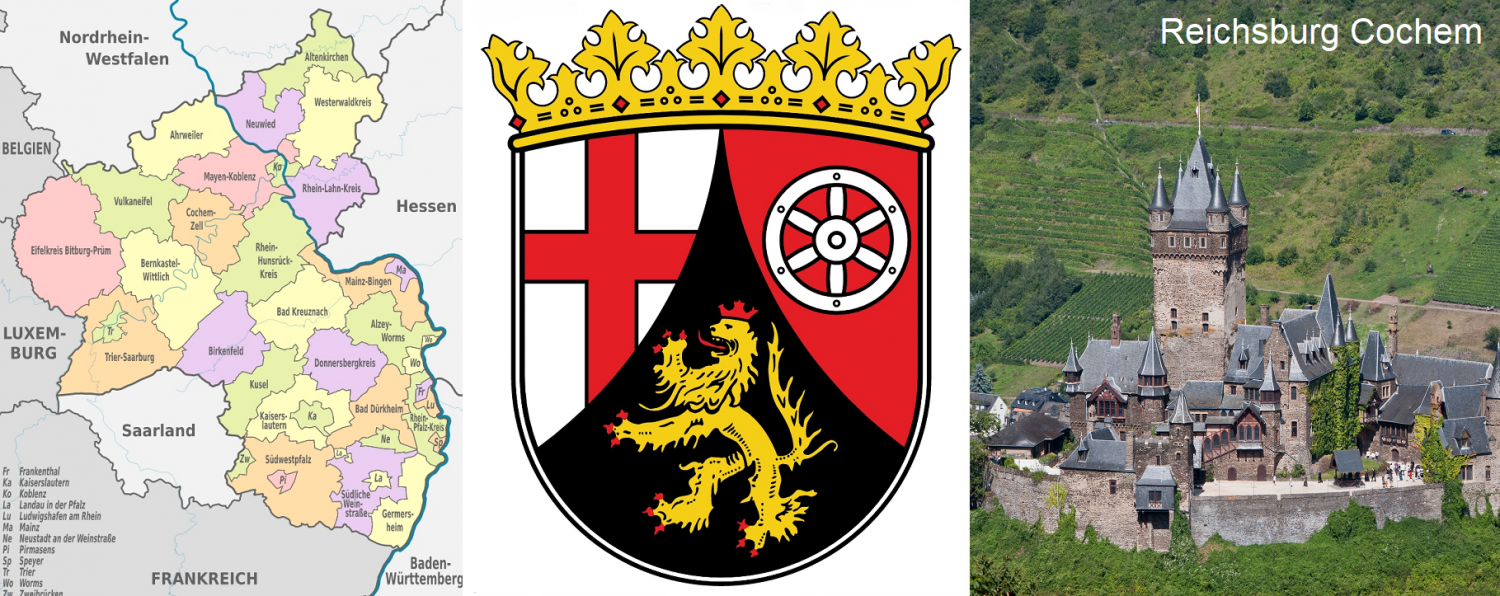 Rhineland Palatinate - map, coat of arms and Reichsburg Cochem with vineyards