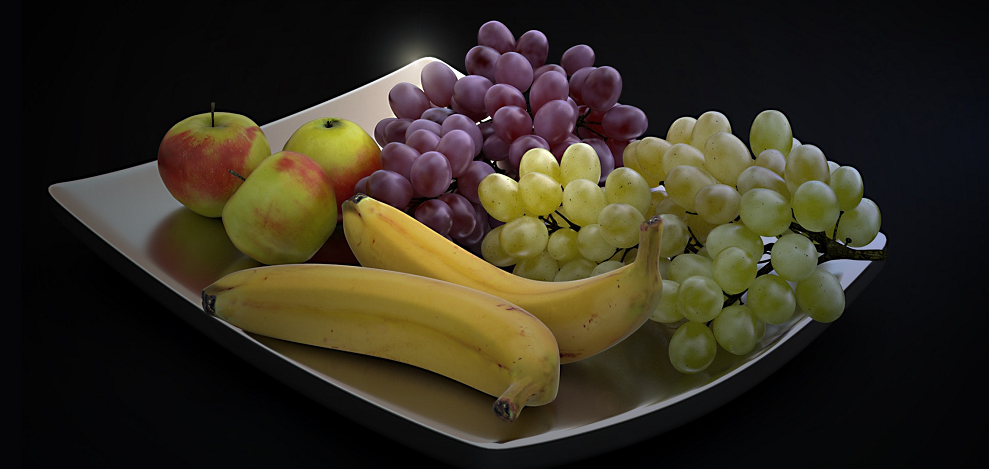 Table grapes - still life with grapes, bananas and apple