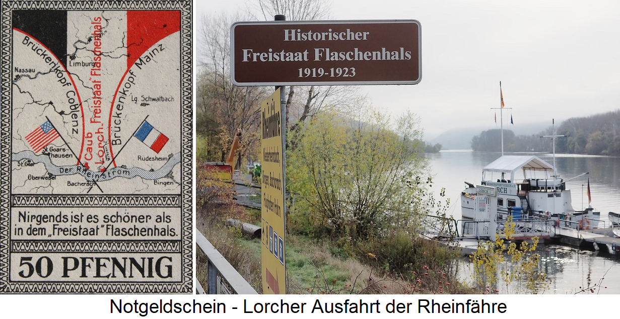 Free State of bottleneck - emergency note and picture of Lorcher exit of the Rhine ferry